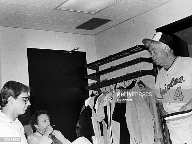 Manager Earl Weaver of the Baltimore Orioles talks to the media in his office after an MLB game against the New York Yankees circa 1979 at Yankee...