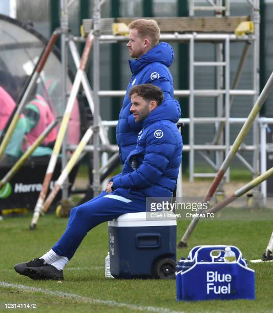 Manager Ed Brand and James Simmonds of Chelsea during the Norwich City v Chelsea U18 Premier League match on February 27, 2021 in Norwich, England.