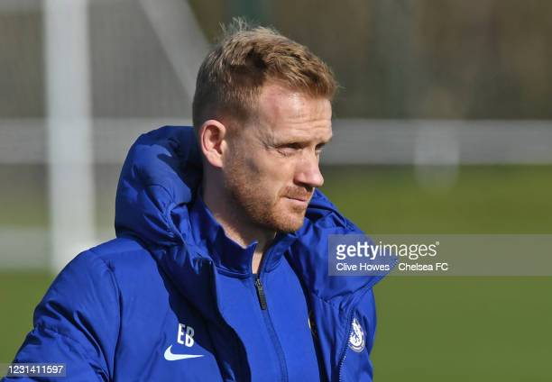 Manager Ed Brand of Chelsea during the Norwich City v Chelsea U18 Premier League match on February 27, 2021 in Norwich, England.