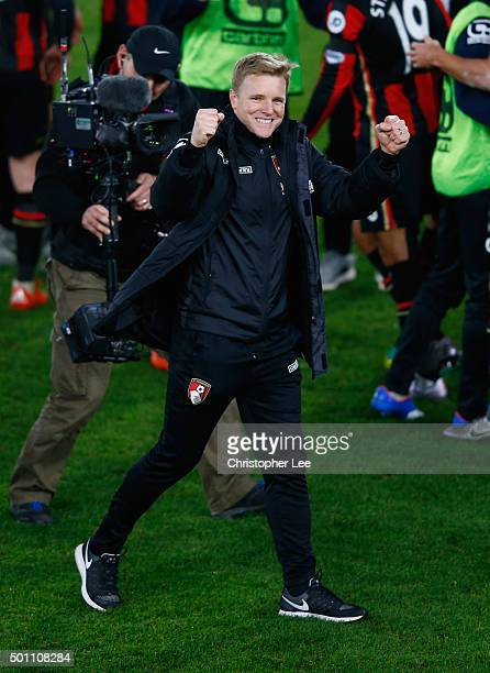 Manager Eddie Howe of Bournemouth celebrates their victory during the Barclays Premier League match between AFC Bournemouth and Manchester United at...