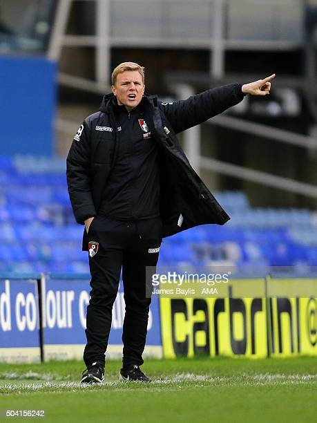 Manager Eddie Howe of Bournemouth gestures during The Emirates FA Cup match between Birmingham City and AFC Bournemouth at St Andrews on January 9...