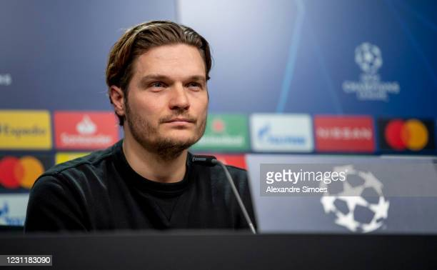 Manager Edin Terzic of BVB attends a press conference prior to the UEFA Champions League Round of 16 match between Sevilla FC and Borussia Dortmund...