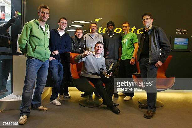 Manager English football team 'Ebbsfleet FC' Liam Daish poses for pictures with team players Neil Barrett Luke Moore Stacey Long Michael Bostwick...