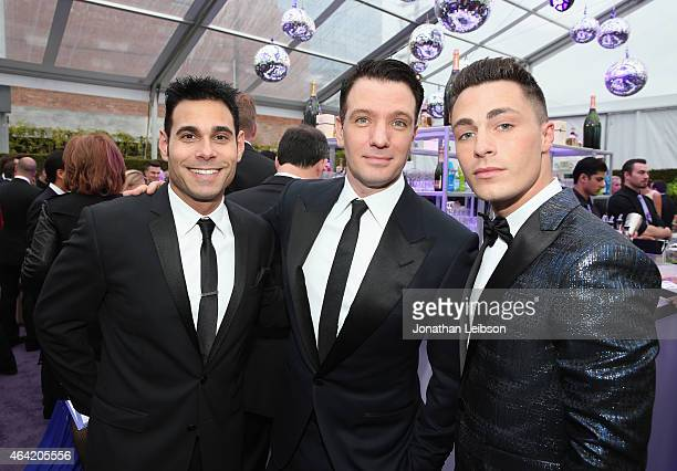 Manager Eric Podwall singer JC Chasez and actor Colton Haynes attend ROCA PATRON TEQUILA at the 23rd Annual Elton John AIDS Foundation Academy Awards...