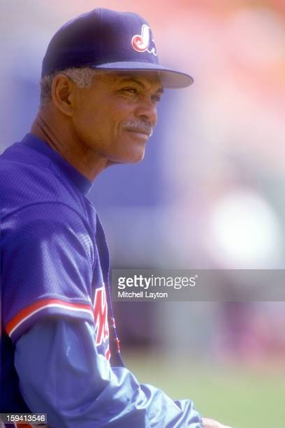 Manager Felipe Alou of the Montreal Expos looks on before a baseball game against the Colorado Rockies on April 10 1993 at Mile High Stadium in...
