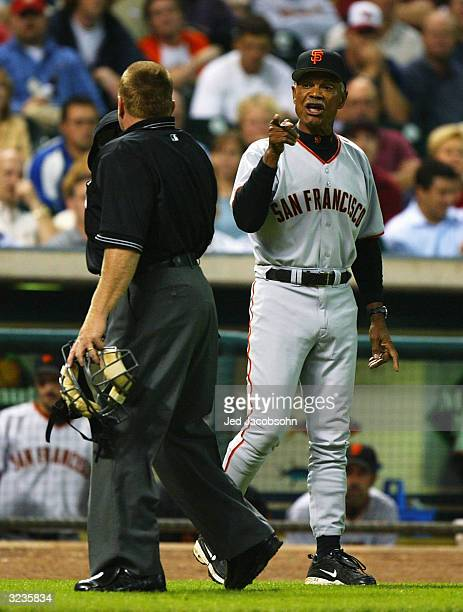 Manager Felipe Alou of the San Francisco Giants argues with home plate umpire Terry Craft during a game against the Houston Astros April 6 2004 at...