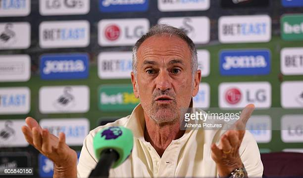 Manager Francesco Guidolin during the Swansea City Press Conference at The Liberty Stadium on September 15 2016 in Swansea Wales
