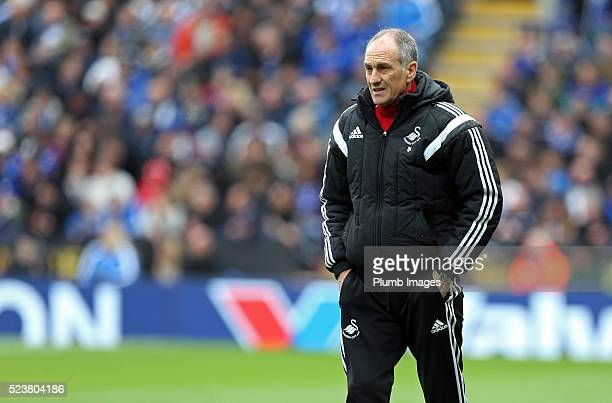 Manager Francesco Guidolin of Swansea looks on during the Barclays Premier League match between Leicester City and Swansea City at the King Power...