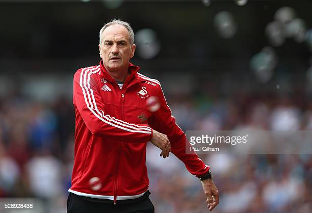 Manager Francesco Guidolin of Swansea reacts from the touchline during the Barclays Premier League match between West Ham United and Swansea City at...