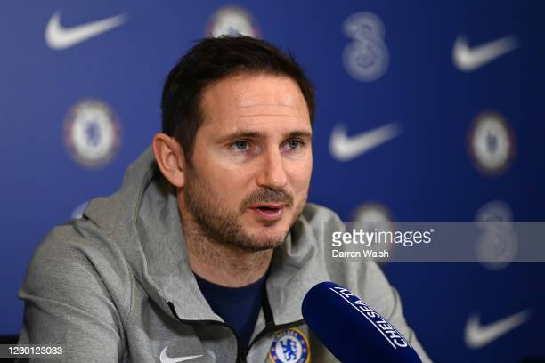 Manager Frank Lampard of Chelsea during a press conference at Chelsea Training Ground on December 14, 2020 in Cobham, England.