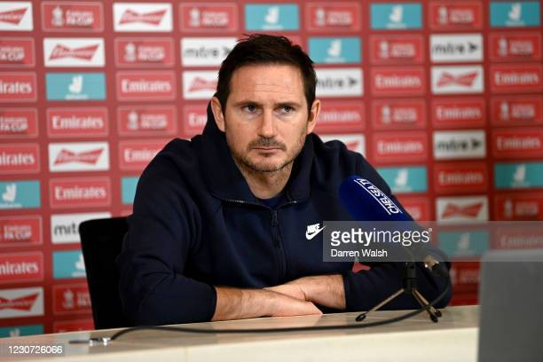 Manager Frank Lampard of Chelsea during a press conference at Chelsea Training Ground on January 22, 2021 in Cobham, England.