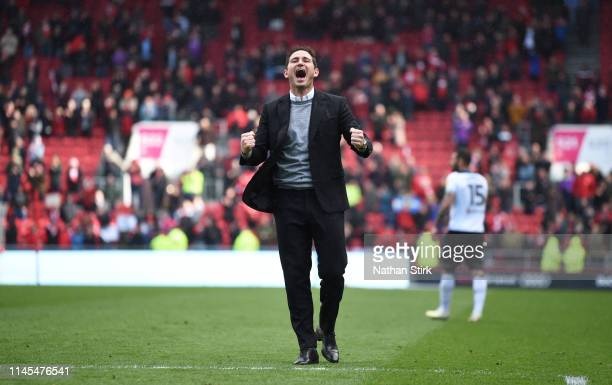 Manager Frank Lampard of Derby County celebrates during the Sky Bet Championship match between Bristol City and Derby County at Ashton Gate on April...