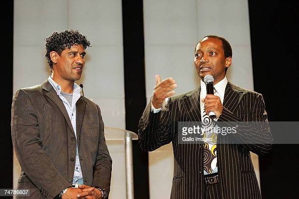Manager Frank Rijkaard of FC Barcelona and mining entrepreneur Patrice Motsepe owner of the Mamelodi Sundowns attend a press conference ahead of the...