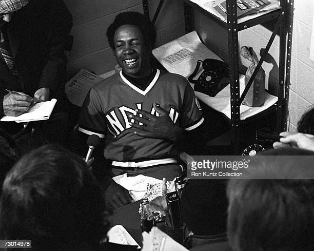 Manager Frank Robinson of the Cleveland Indians talks to the press after the Opening Day game on April 8 1975 against the New York Yankees at...