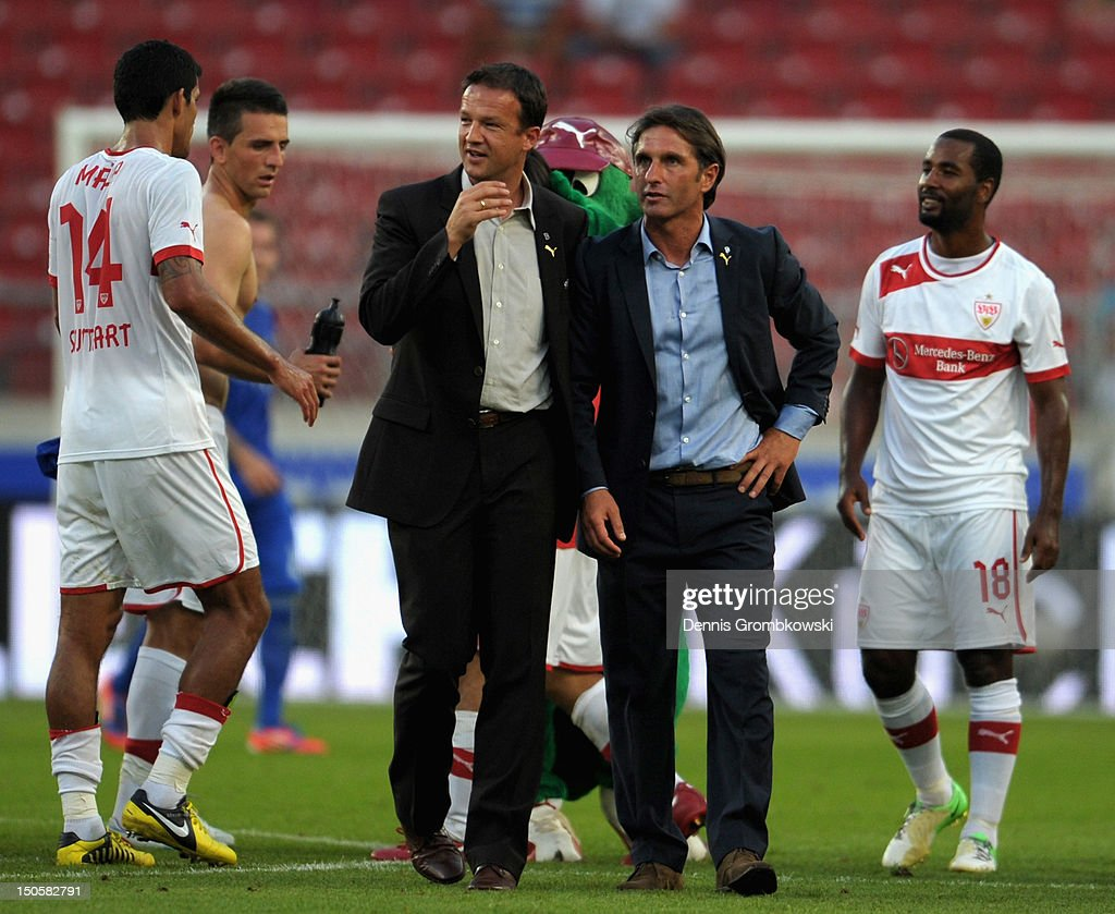 Manager Fredi Bobic of Stuttgart and head coach Bruno Labbadia talk after the UEFA Europa League Qualifying Play-Off match between VfB Stuttgart and FC Dynamo Moscow at Mercedes-Benz Arena on August 22, 2012 in Stuttgart, Germany.