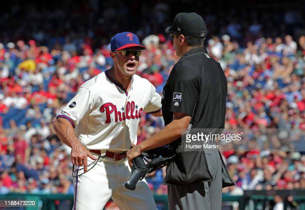 Manager Gabe Kapler of the Philadelphia Phillies argues with umpire Gabe Morales and gets thrown out of the game in the fourth inning against the...