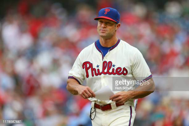 Manager Gabe Kapler of the Philadelphia Phillies brings out line up card before a game against the Miami Marlins at Citizens Bank Park on September...
