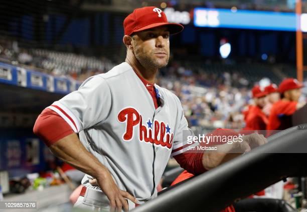 Manager Gabe Kapler of the Philadelphia Phillies in action against the New York Mets at Citi Field on September 7 2018 in the Flushing neighborhood...