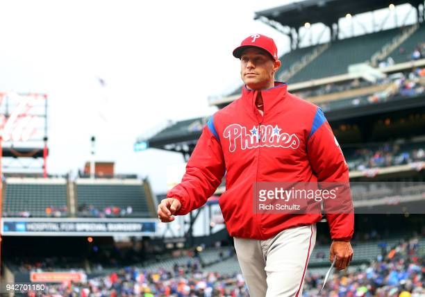 Manager Gabe Kapler of the Philadelphia Phillies in action during a game against the New York Mets at Citi Field on April 4 2018 in the Flushing...