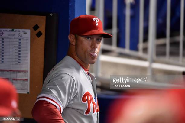 Manager Gabe Kapler of the Philadelphia Phillies in the dugout before the start of the game against the Miami Marlins at Marlins Park on July 13 2018...