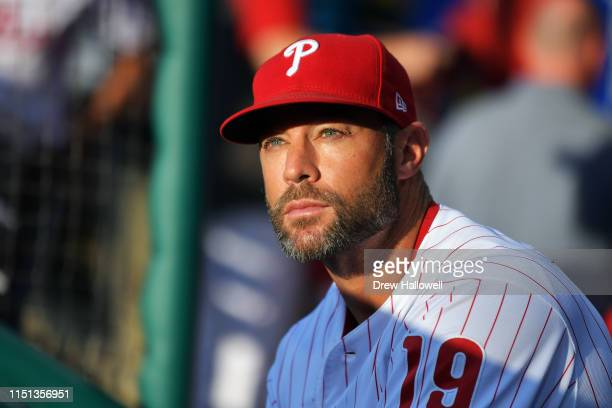 Manager Gabe Kapler of the Philadelphia Phillies looks on before the game against the Miami Marlins at Citizens Bank Park on June 21 2019 in...