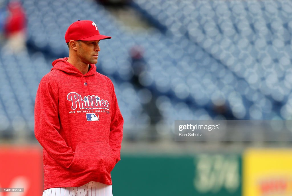 Manager Gabe Kapler #22 of the Philadelphia Phillies looks on during the team's batting practice before a game against the Miami Marlins at Citizens Bank Park on April 7, 2018 in Philadelphia, Pennsylvania.