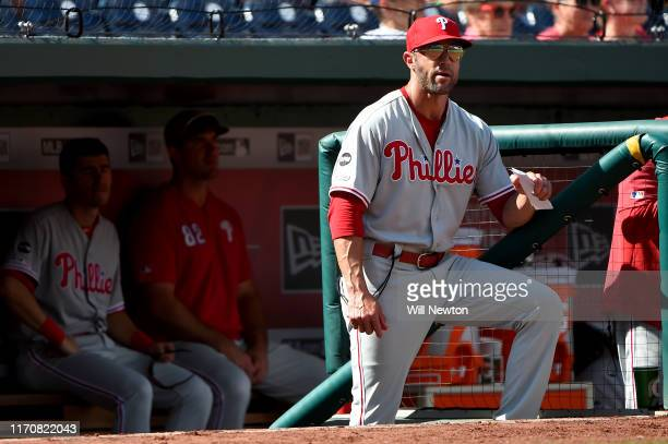 Manager Gabe Kapler of the Philadelphia Phillies looks on from the dugout during game one of a doubleheader against the Washington Nationals at...