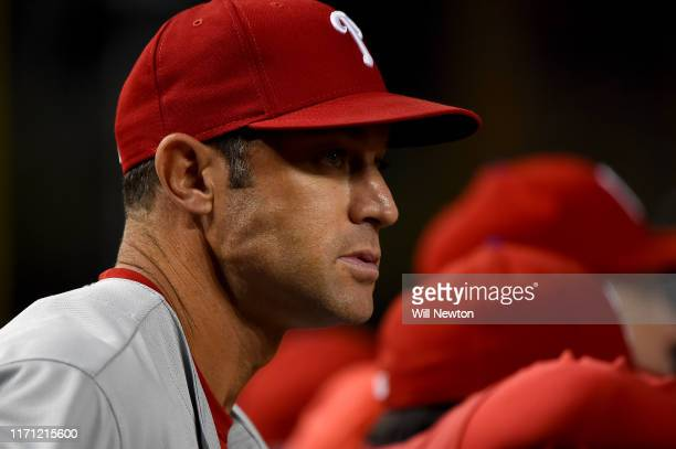 Manager Gabe Kapler of the Philadelphia Phillies looks on from the dugout during the game against the Washington Nationals at Nationals Park on...