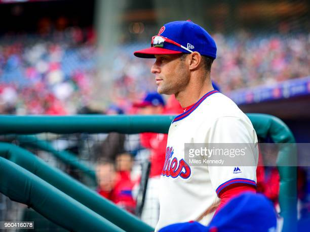 Manager Gabe Kapler of the Philadelphia Phillies looks on from the dugout during the Phillies game against the Pittsburgh Pirates during the eighth...