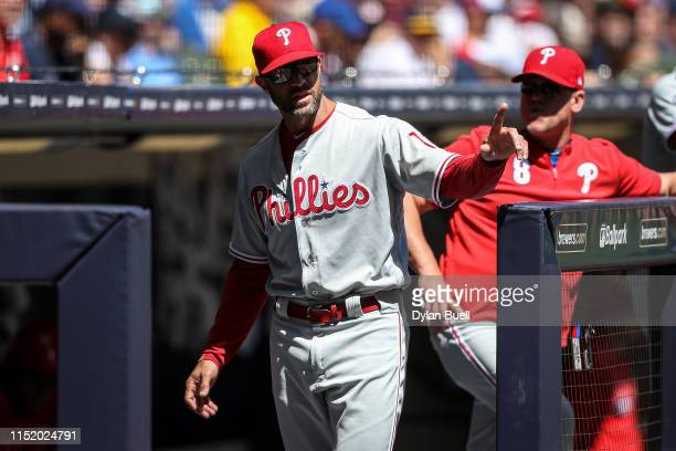 Manager Gabe Kapler of the Philadelphia Phillies looks on in the fourth inning against the Milwaukee Brewers at Miller Park on May 26, 2019 in...