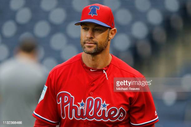 Manager Gabe Kapler of the Philadelphia Phillies looks on prior to the Grapefruit League spring training game against the New York Yankees at...