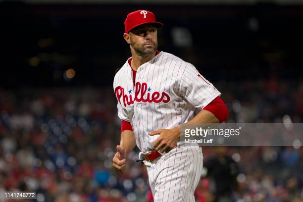 Manager Gabe Kapler of the Philadelphia Phillies runs back to the dugout against the Washington Nationals at Citizens Bank Park on April 9, 2019 in...