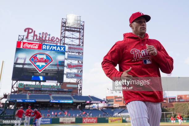 Manager Gabe Kapler of the Philadelphia Phillies runs off the field prior to the game against the Cincinnati Reds at Citizens Bank Park on April 10...