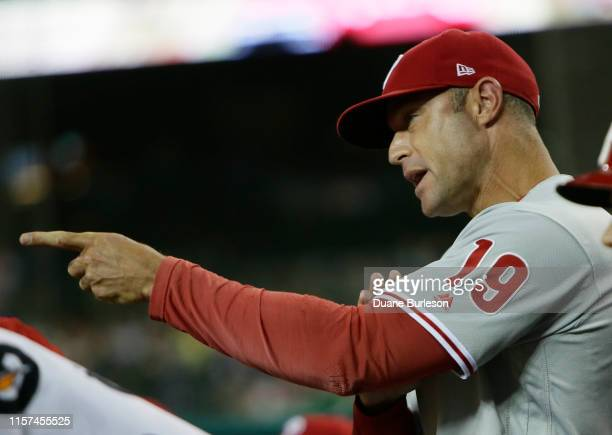Manager Gabe Kapler of the Philadelphia Phillies shouts at the home plate umpire that pitcher Blaine Hardy of the Detroit Tigers balked during the...