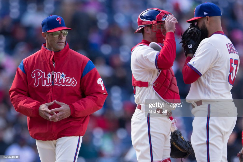 Manager Gabe Kapler #22 of the Philadelphia Phillies walks back to the dugout after putting in Luis Garcia #57 to pitch in the top of the seventh inning against the Miami Marlins at Citizens Bank Park on April 8, 2018 in Philadelphia, Pennsylvania. The Marlins defeated the Phillies 6-3.
