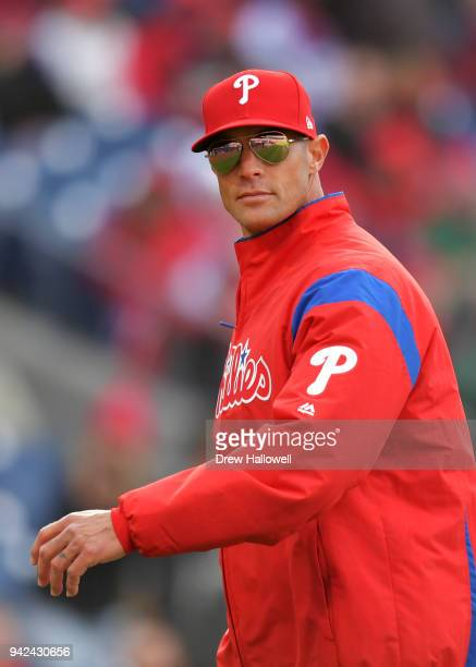 Manager Gabe Kapler of the Philadelphia Phillies walks to the dugout in the sixth inning against the Miami Marlins at Citizens Bank Park on April 5...