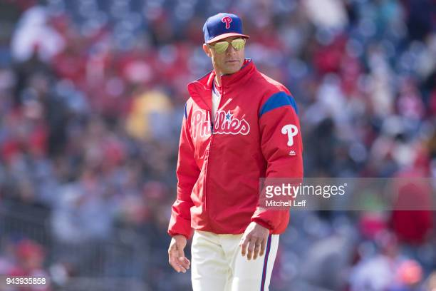 Manager Gabe Kapler of the Philadelphia Phillies walks to the dugout after a pitching change against the Miami Marlins at Citizens Bank Park on April...