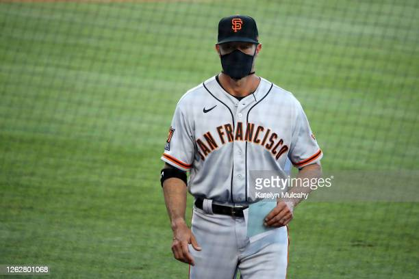Manager Gabe Kapler of the San Francisco Giants heads to the dugout before the game against the Los Angeles Dodgers at Dodger Stadium on July 26,...