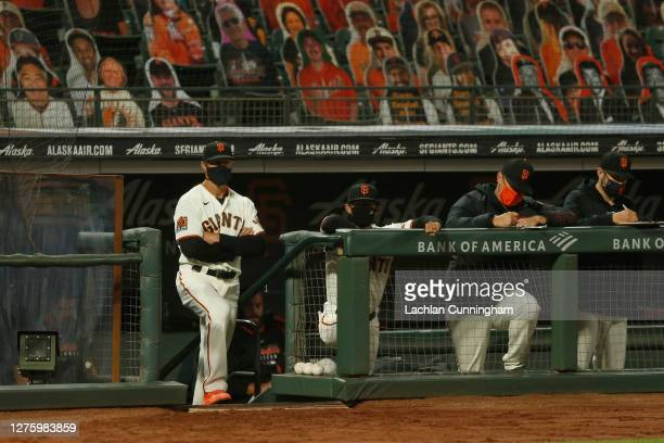Manager Gabe Kapler of the San Francisco Giants looks on from the dugout during the game against the Colorado Rockies at Oracle Park on September 22,...