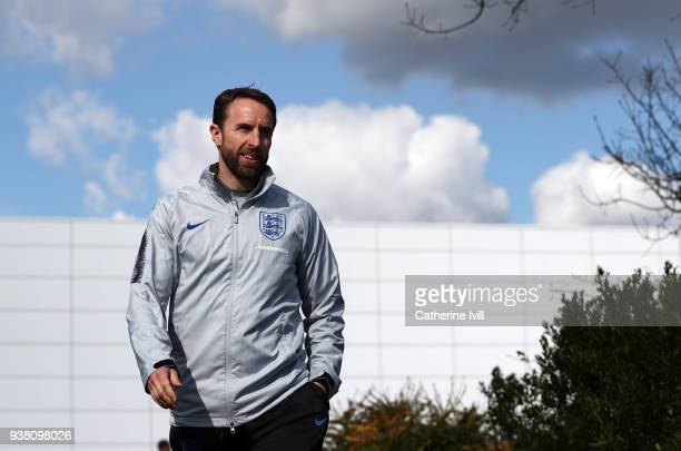 Manager Gareth Southgate arrives to an England Training session on the eve of their international friendly against Italy on March 26 2018 in Enfield...