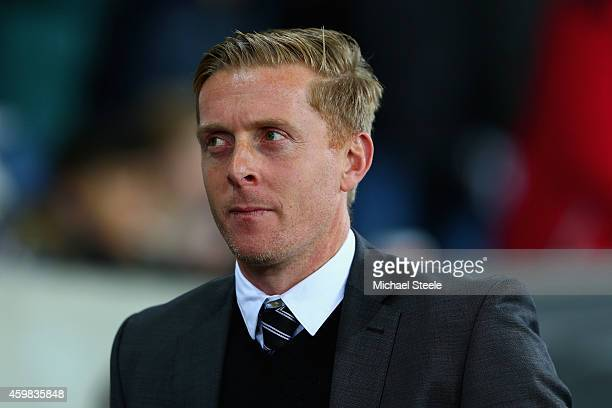 Manager Garry Monk of Swansea City looks on during the Barclays Premier League match between Swansea City and Queens Park Rangers at Liberty Stadium...