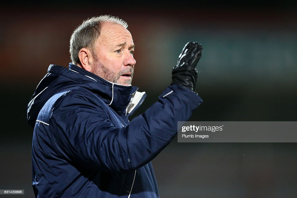 Manager Gary Johnson of Cheltenham Town during the EFL Checkatrade Trophy Second Round tie between Cheltenham Town and Leicester City at Whaddon Road Stadium on January 10, 2017 in Cheltenham, England.