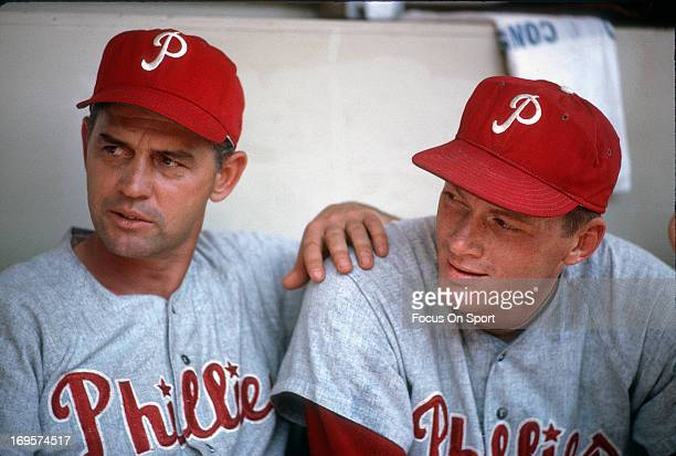 Manager Gene Mauch of Philadelphia Phillies looks on from the dugout during an Major League Baseball game circa 1964 Mauch managed the Phillies from...