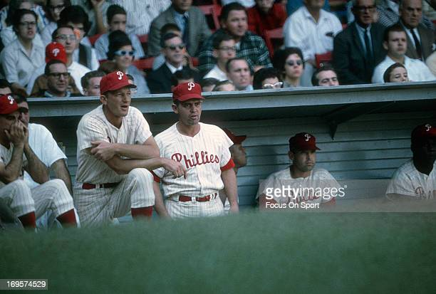 Manager Gene Mauch of Philadelphia Phillies looks on from the dugout during an Major League Baseball game circa 1964 at Connie Mack Stadium in...