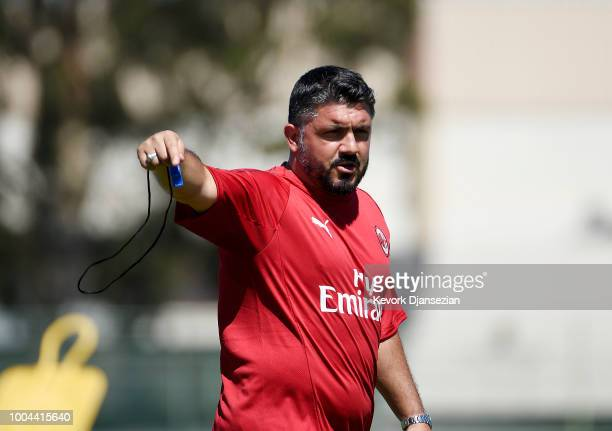 Manager Gennaro Gattuso of AC Milan during a preseason training session StubHub Center on July 23 2018 in Carson California