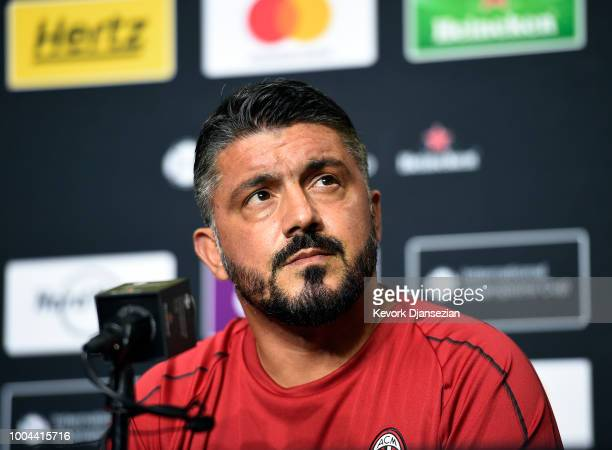 Manager Gennaro Gattuso of AC Milan during news conference after a preseason training session StubHub Center on July 23 2018 in Carson California