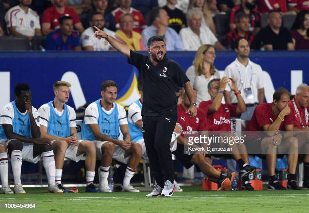 Manager Gennaro Gattuso of AC Milan issues instruction from the bench during the International Champions Cup 2018 match against Manchester United at...