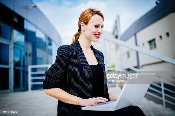 Manager girl on laptop