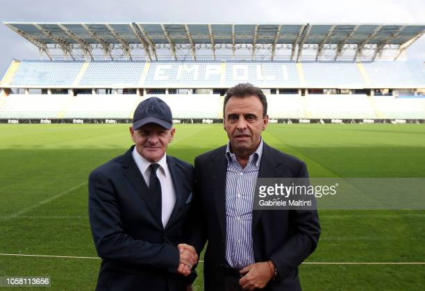 Manager Giuseppe Iachini of Empoli FC and Fabrizio Corsi president of Empoli FC on November 6 2018 in Empoli Italy