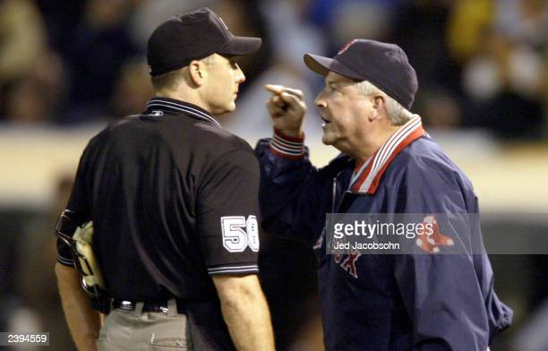 Manager Grady Little of the Boston Red Sox is thrown out of the game by umpire Dan Iassogna for arguing a stike call against the Oakland A's August...